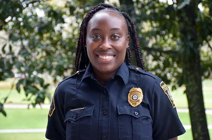 Tabershia Green, Campus police smiles for the camera.