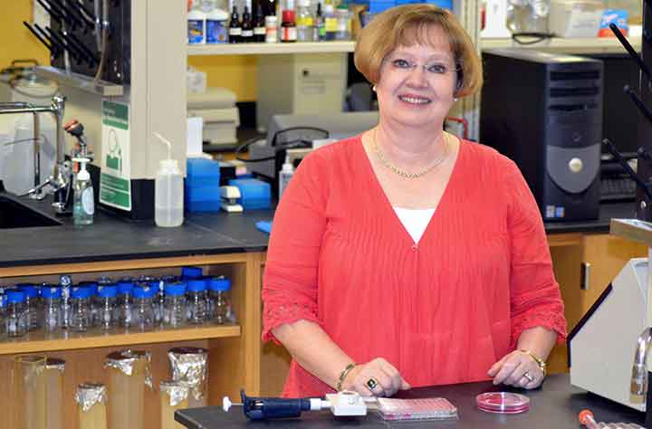 Wanda T. Schroeder in Biology lab