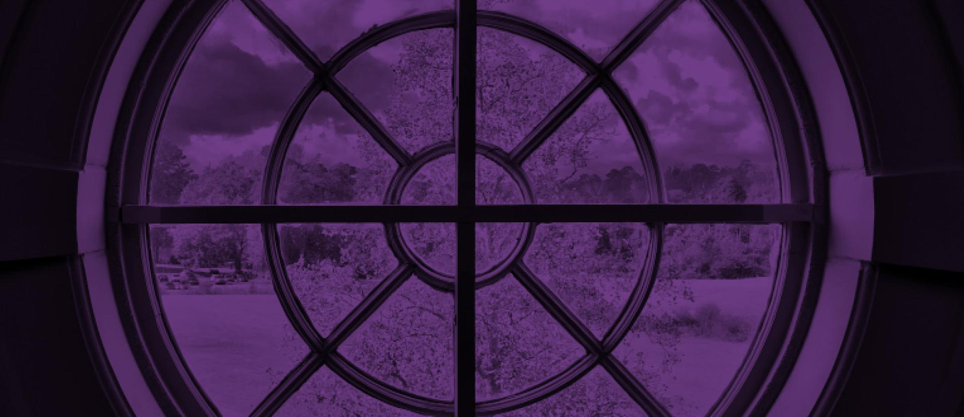 Library window with purple overlay