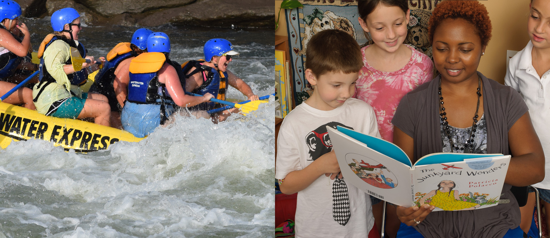 MEd students white water rafting and one reading books to students