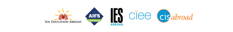 Study Abroad Logos: Sol Education Abroad, AIFS, IES Abroad, CIEE, and cisabroad
